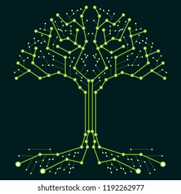 Technological tree in the form of a printed circuit board. Green wood in the form of connections of the technological board. Flat design, vector illustration, vector.