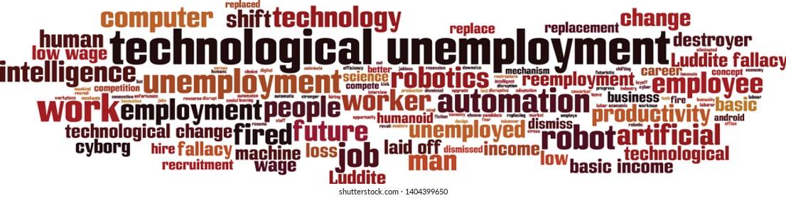 Technological unemployment cloud concept. Collage made of words about technological unemployment. Vector illustration