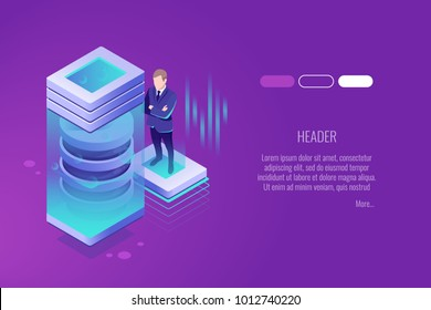 Technologies of the future, Cryocamera, The scientist costs near power plant, development of new technologies isometric vector illustration