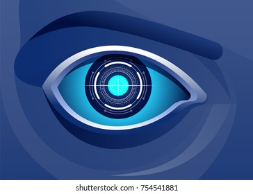 Technologies for the Global Surveillance, Security of computer systems and networks, Digital Technology Artificial Intelligence Concept Vector illustration