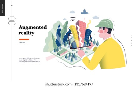 Technology 1 -Augmented reality, modern flat vector concept digital illustration -augmented reality metaphor - man with tablet. Creative landing web page design template