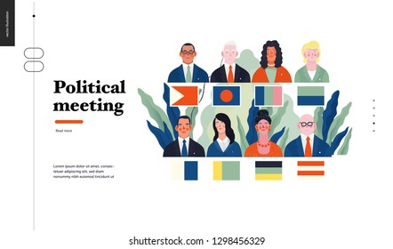 Technology 1 - Political meeting - flat vector concept digital illustration political meeting metaphor. Creative landing web page design template
