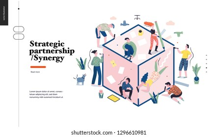 Technology 1 -Strategic Partership - Synergy flat vector concept digital illustration partnership and synergy metaphor. Business workflow and team management Creative landing web page design template