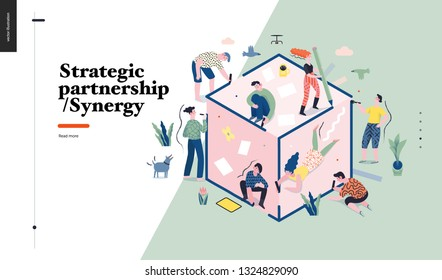 technology 1 -strategic partership - synergy flat vector concept digital  illustration partnership and synergy metaphor