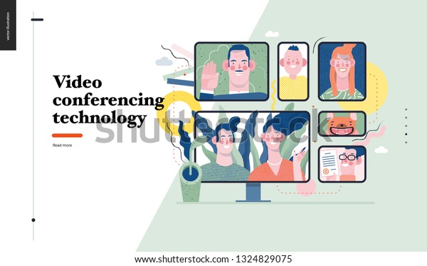Technology 1 Video Conferencing Technology Modern Stock Vector