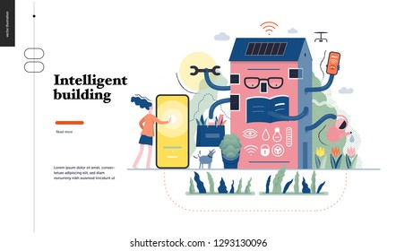 Technology 1-Intelligent building, modern flat vector concept digital illustration Smart house and management metaphor -woman and building resolving problems. Creative landing web page design template