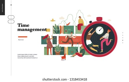 Technology 2 -Time management - modern flat vector concept digital illustration of time management metaphor, a stopwatch, timeline and people in workflow. Creative landing web page design template