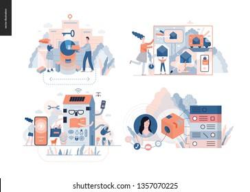 Technology 3 set - modern flat vector concept digital illustration- Marketing Promotion, Solution, Intelligent building, CRM Customer Relationship Management. Creative landing web page design template