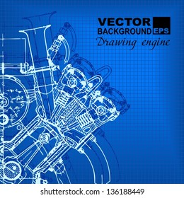 Technology abstract background. Drawing engine. Vector.