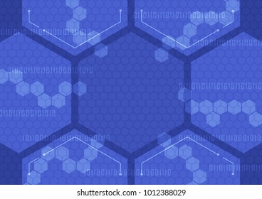 Technology abstract background with hexagonal set in blue tone, Vector illustration.