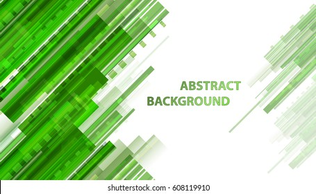 Technology abstract green background with transparency hologram and shapes. Motion modern vector backdrop for design poster and web banners which use in business and science. Digital signs on white