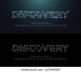 Technology abstract neon line stroke font and alphabet. techno effect logo designs. Typography digital space concept. vector illustration