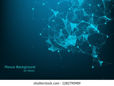 Technology abstract vector background.Data visualization.Sound wave, polygonal space low poly wallpaper with connecting dots and lines structure.Futuristic triangle geometric plexus for your design.