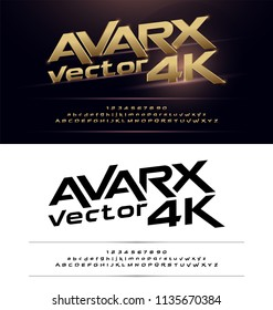 Technology alphabet gold metallic and effect designs for logo, Poster, Invitation. Exclusive Golden Letters Typography Number Italic font Digital and Sport concept. vector illustrator