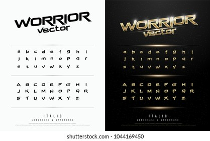 Technology alphabet golden metallic and effect designs for logo, Poster, Invitation. Exclusive gold Letters Typography italic font digital and sport concept. vector illustration