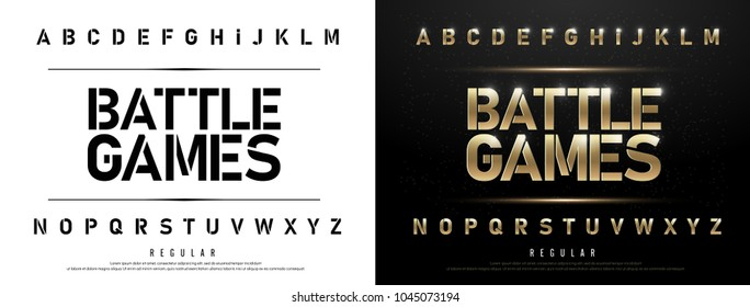 Technology alphabet golden metallic and effect designs for logo, Poster. Exclusive gold Letters Typography regular font digital and sport concept. vector illustration