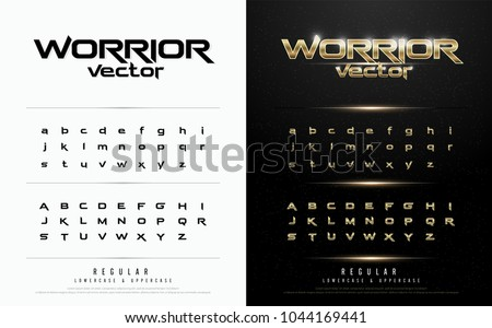 Technology alphabet golden metallic and effect designs for logo, Poster, Invitation. Exclusive gold Letters Typography regular font digital and sport concept. vector illustration