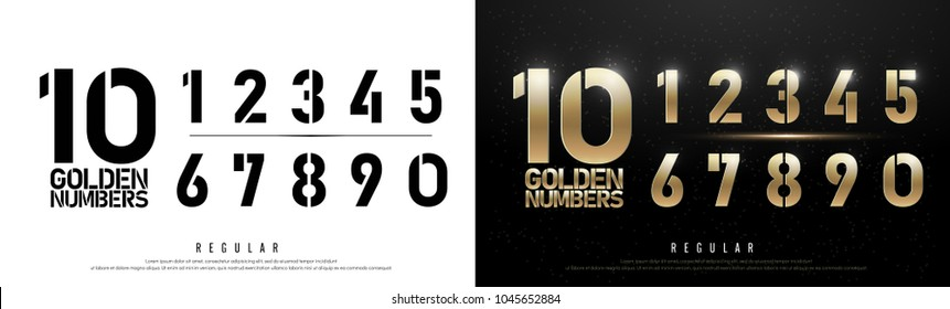 Technology alphabet golden numbers metallic and effect designs for logo, Poster. Exclusive Gold Number Letters Typography regular font digital and sport concept. vector illustration