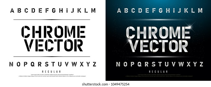 Technology alphabet silver metallic and effect designs for logo, Poster. Exclusive Chrome Letters Typography regular font digital and sport concept. vector illustration