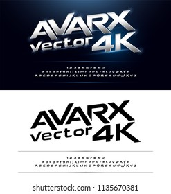 Technology alphabet silver metallic and effect designs for logo, Poster, Invitation. Exclusive Letters Typography Number Italic font Digital and Sport concept. vector illustrator