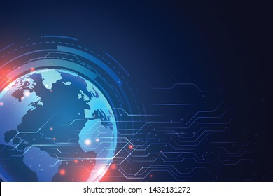 technology background with earth and circuit diagram