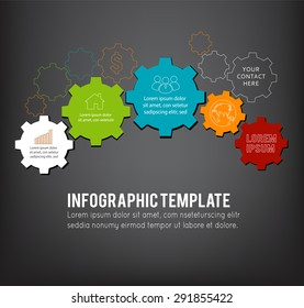 Technology background with gear wheel, infographic template. Vector background.