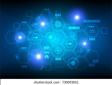 Technology background, hexagon and icons with blue glowing lights on dark background