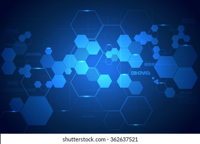 technology background with hexagons. vector