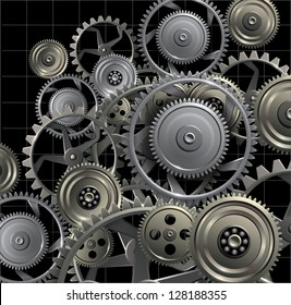 Technology background with metal gears and cogwheels, vector.