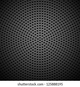 Technology background with seamless circle perforated carbon speaker grill texture for internet sites, web user interfaces (ui) and applications (apps). Vector Pattern.