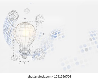 Technology Background. Wireframe lightbulb and 3d gear on dotted sphere background represents technology concept and engineering. Vector illustration.