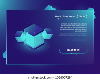 Technology banner with abstract illustration, isometric shine cube, data protocol concept, server room, future energy ecology dark neon gradient background
