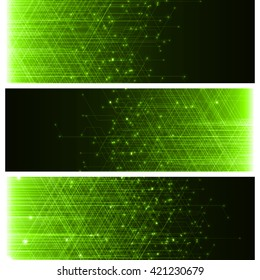 technology banner with abstract lines. set with three banner. green version.