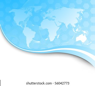 Technology banner with earth map. Vector illustration