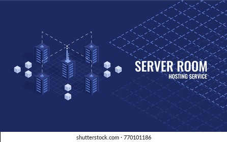 Technology banner with isometric server racks or processing unit on geometry background, proxy server room, website hosting, data center concept, mainframe computer flat vector illustration
