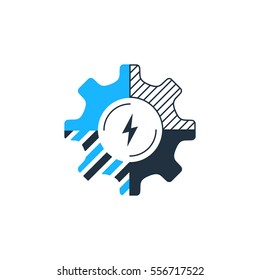 Technology business concept logo. Finances and development strategy. Construction and innovation icon. System integration. Flat design vector illustration