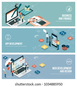 Technology, business and development banner set with people working together, computers and mobile devices