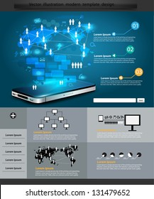 Technology business, infographics and Information technology Graphics Network process diagram on mobile phones, Vector illustration Modern template Design