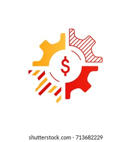 Technology and business integration concept, smart solution logo. Finances and venture investment, fund strategy, wealth management, diversification portfolio, line icon, vector illustration