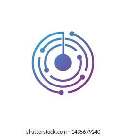technology circle vector logo design