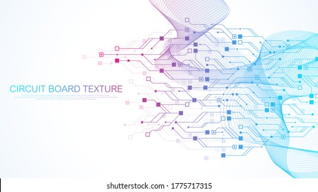 Technology circuit board texture background. Abstract circuit board banner wallpaper. Digital data industry. Engineering electronic motherboard. Wave flow, vector illustration