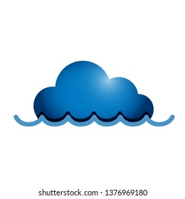 technology cloud submerged under water. Illustration design over a white background