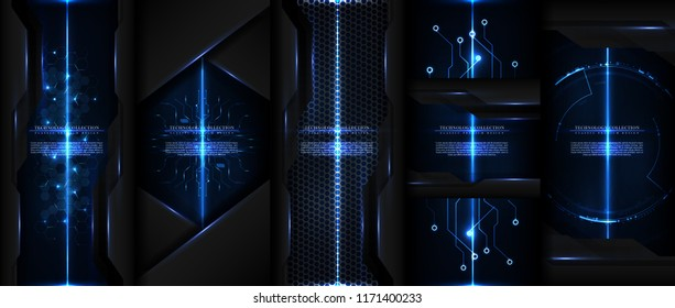 Technology collection abstract modern cyber light background card template vector design