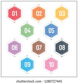 Technology Colorful Hexagon Shape Numbers Info-graphic Bullet points 1 to 10 Vector