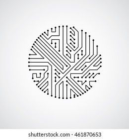Technology communication cybernetic element. Vector abstract illustration of circuit board in the shape of circle.