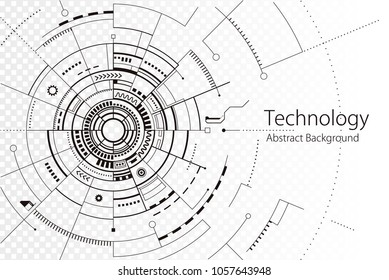 Technology composition black and white line silhouette abstract design background.