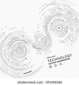 Technology composition silhouette abstract background.