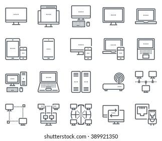 Tecnologia e computer icona set adatto per info grafica, siti web e supporti di stampa e interfacce. Icone vettoriali di linea.