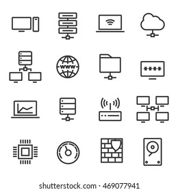 Technology and computing icons set. High-tech images.