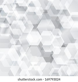 Technology concept abstract futuristic background with white shadowed hexagonal geometric design